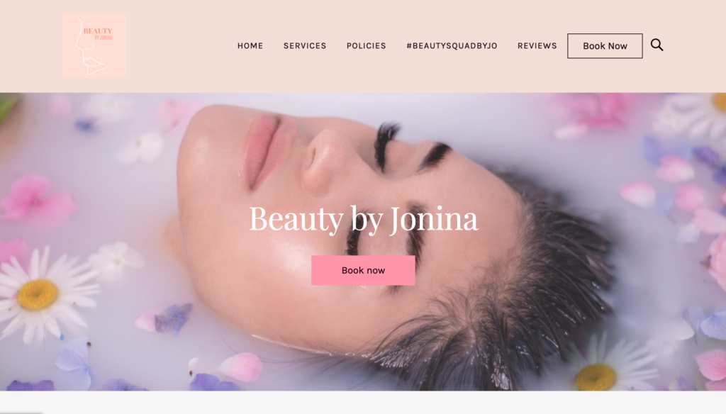Mobile beauty salon website built using Square Online