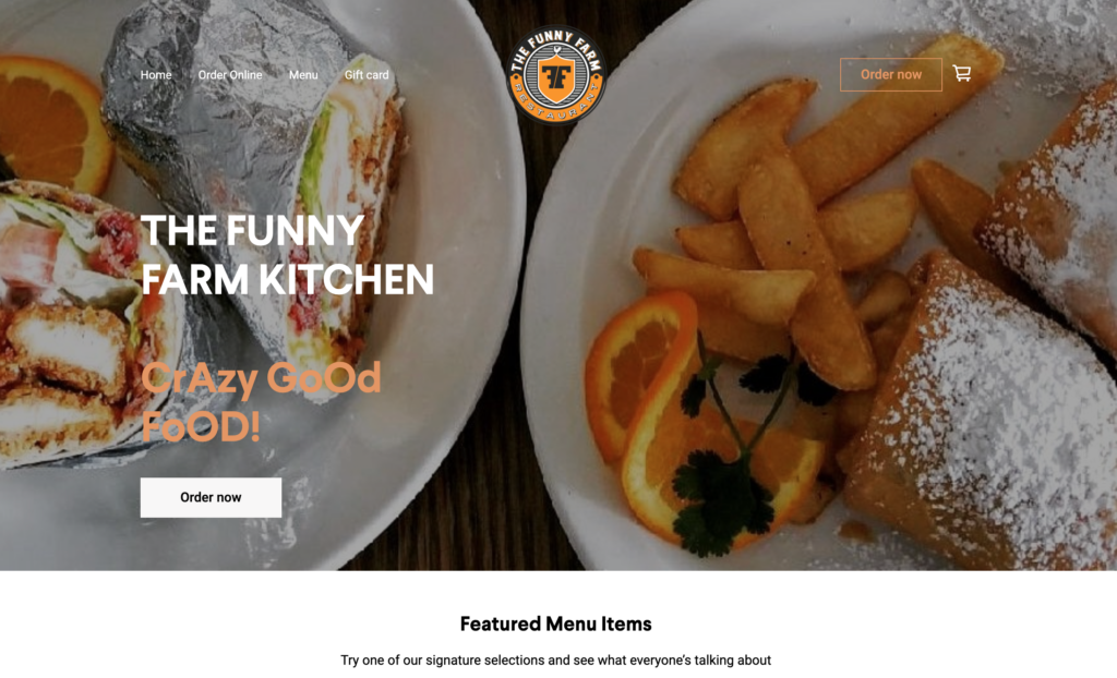 Restaurant website built using Square Online Store