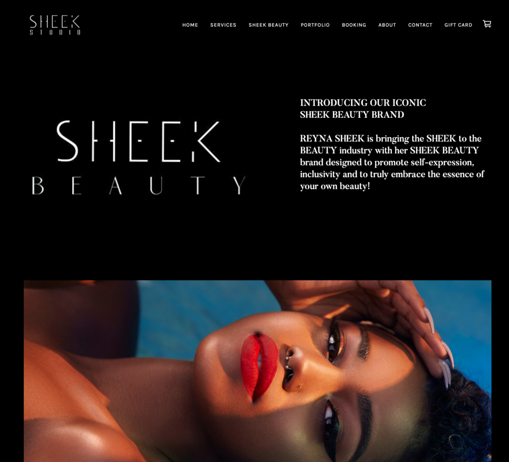 Beauty website created with Squareup